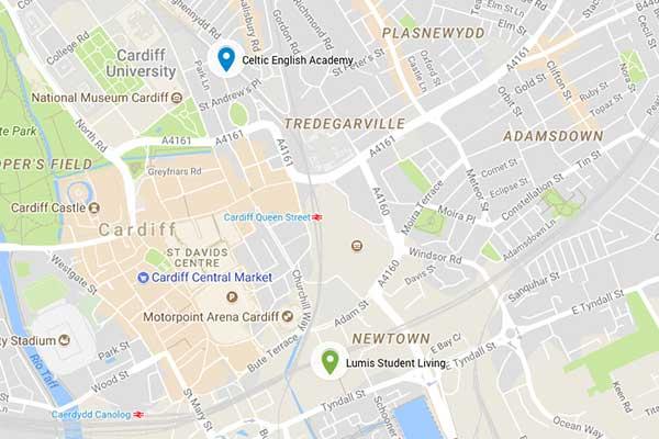 mapa CARDIFF